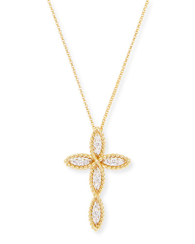 Barocco 18k Gold Diamond Cross Necklace