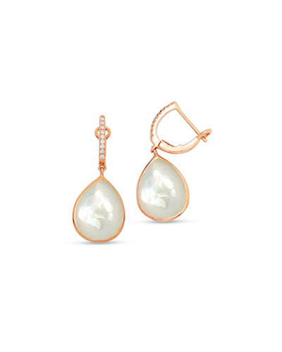 White Mother-of-Pearl Drop Earrings in 18K Rose Gold