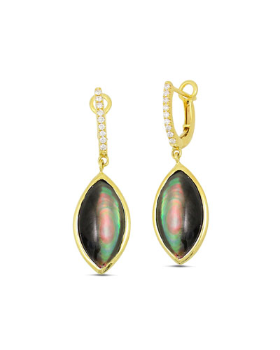 Luna 18K Gold & Black Mother-of-Pearl Marquis Drop Earrings