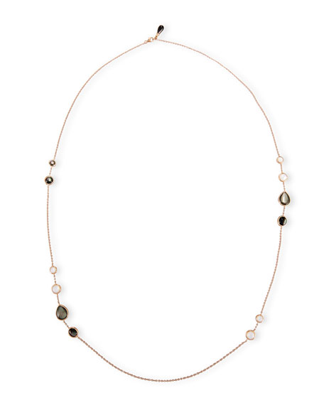 Frederic Sage Black & White Mother-of-Pearl Station Necklace in 18K Rose Gold