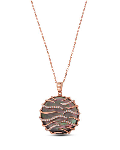 18K Rose Gold & Black Mother-of-Pearl Pendant Necklace with Diamonds