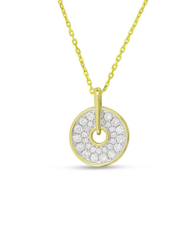 Spinning Disc 18K Gold Necklace with Diamonds