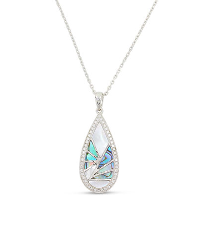 Venus 18K White Gold & Abalone Teardrop Pendant Necklace with Diamonds