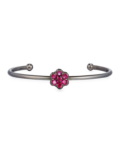18K Black Gold & Ruby Floral Bracelet