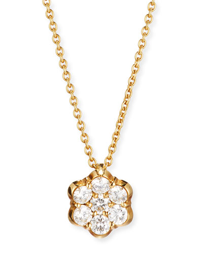 BAYCO 18K Gold & Diamond Floral Pendant Necklace