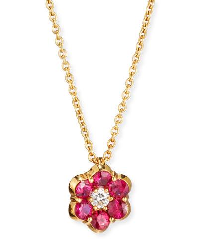 18K Gold Ruby & Diamond Floral Pendant Necklace