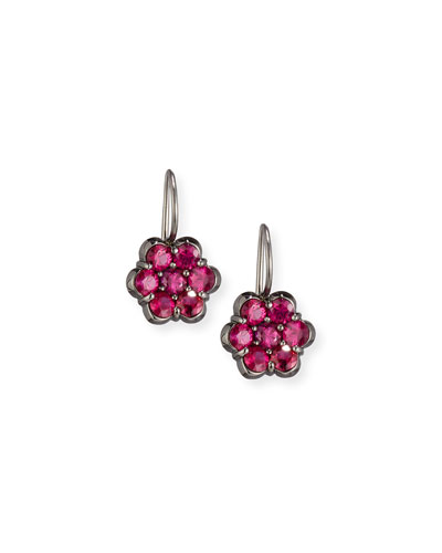 18K Black Gold & Ruby Floral Drop Earrings