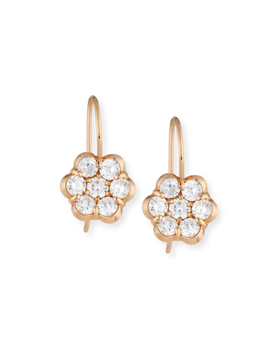 18K Rose Gold & Diamond Floral Drop Earrings