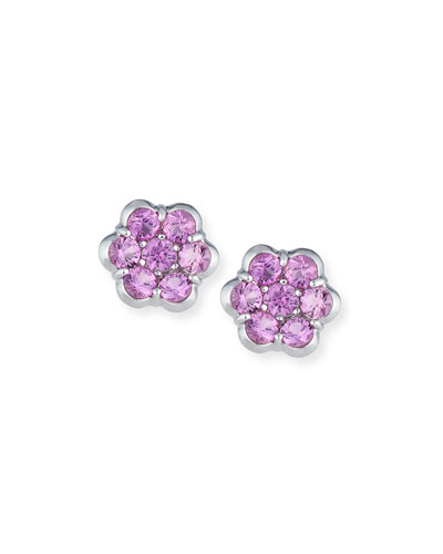 Platinum & Pink Sapphire Floral Stud Earrings