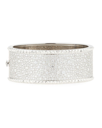 ROBERTO COIN ROCK & DIAMONDS Wide 18K White Gold Bangle with Diamonds