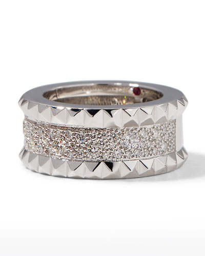 ROBERTO COIN ROCK & DIAMONDS Slim 18K White Gold Ring, Size 6.5