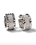 ROBERTO COIN ROCK & DIAMONDS 18K White Gold Huggie Earrings with Diamonds