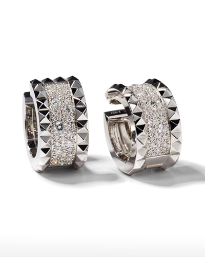 Rock & Diamond 18K White Gold Huggie Earrings with Diamonds