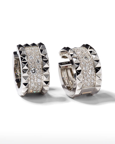 Roberto Coin ROBERTO COIN ROCK & DIAMONDS 18K White Gold Huggie Earrings with Diamonds