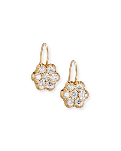 18K Yellow Gold & Diamond Floral Drop Earrings