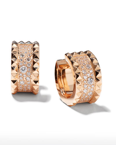 Rock & Diamond 18K Rose Gold Huggie Earrings with Diamonds