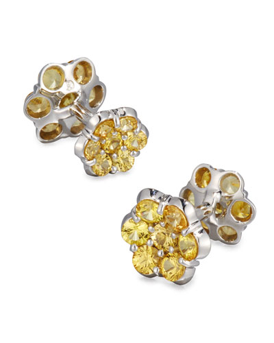 Platinum & Yellow Sapphire Floral Cuff Links