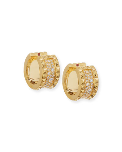 Quick Look Roberto Coin Rock Diamonds 18k Gold Huggie Earrings
