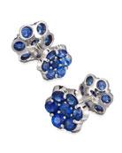 Platinum & Blue Sapphire Floral Cuff Links