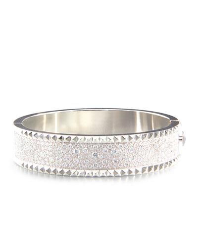 ROBERTO COIN ROCK & DIAMONDS Medium 18K White Gold Bangle