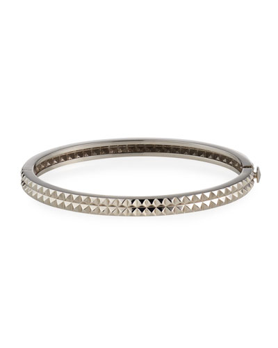 18K White Gold Pyramid Rock & Diamonds Bangle