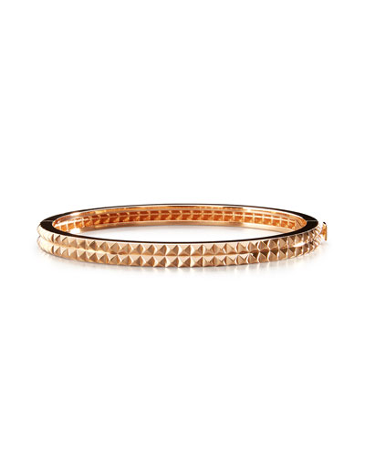 18K Rose Gold Pyramid Rock & Diamond Bangle