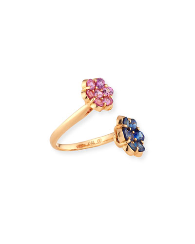 BAYCO 18K Rose Gold Flower Bypass Ring With Pink & Blue Sapphires