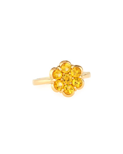 18K Gold & Yellow Sapphire Flower Ring