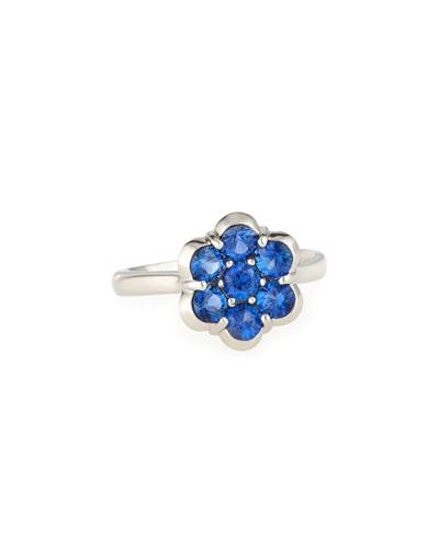 Platinum &  Blue Sapphire Flower Ring
