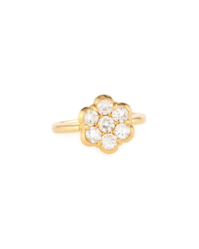 BAYCO 18K Yellow Gold & Diamond Flower Ring
