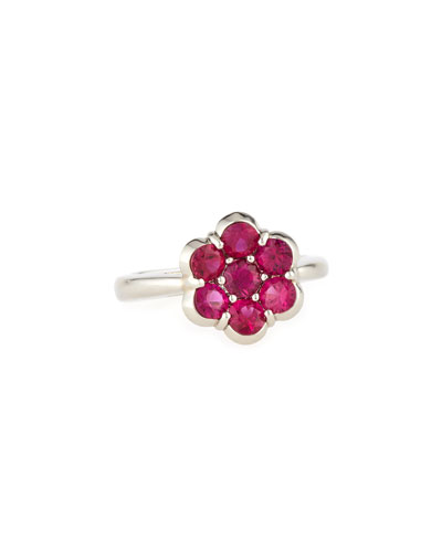 BAYCO Platinum & Ruby Flower Ring