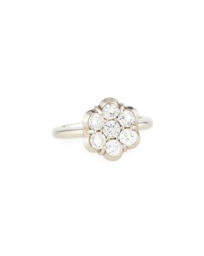 18K PLATINUM & DIAMOND FLOWER RING
