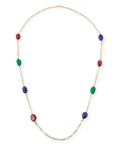 Rubellite, Emerald & Tanzanite Station Necklace in 18K Yellow Gold, 35