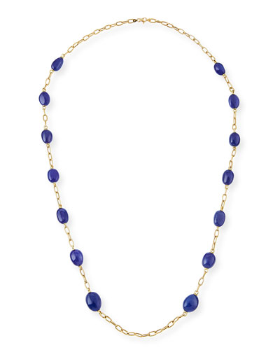 18K Yellow Gold & Tanzanite Station Necklace, 35