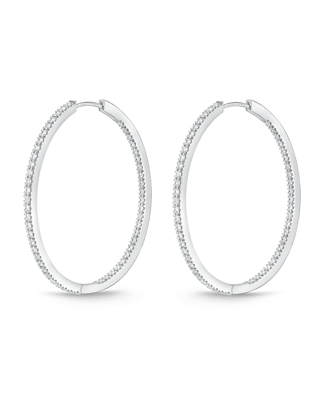 18K White Gold & Diamond Infinity Hoop Earrings