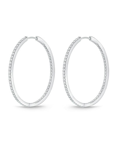 18K White Gold & Diamond Infinity Hoop Earrings, 1.5 tdcw