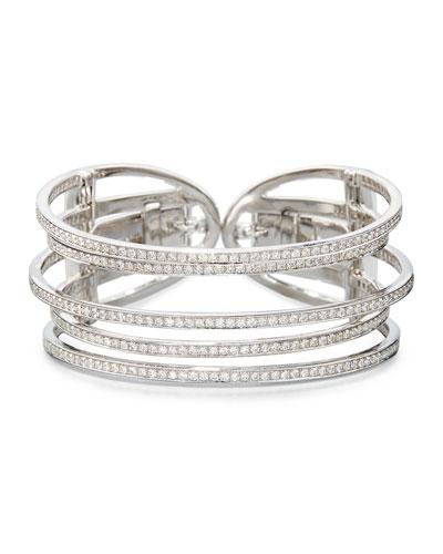 NINI COLLECTION 18K WHITE GOLD & DIAMOND FIVE-ROW CUFF BRACELET