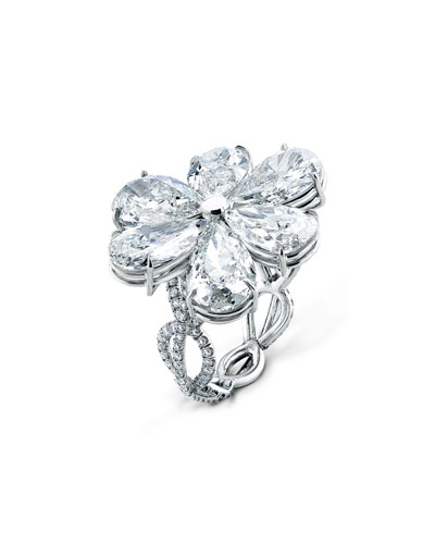 Modern Pear-Shaped Diamond Flower Ring, Size 6.5