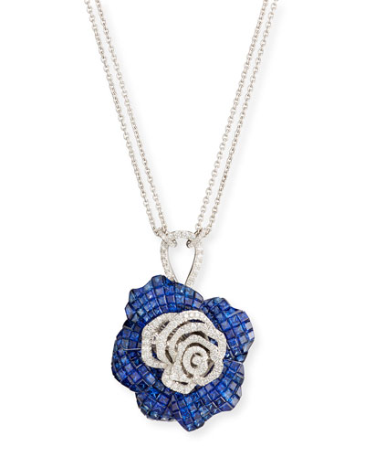 Abstract Blue Sapphire & White Diamond Flower Pendant Necklace