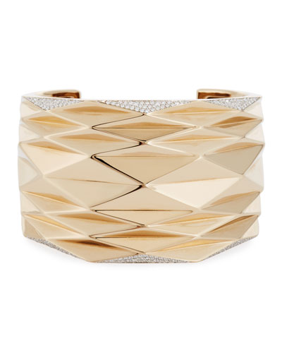 Geometric Diamond-Trimmed Cuff Bracelet
