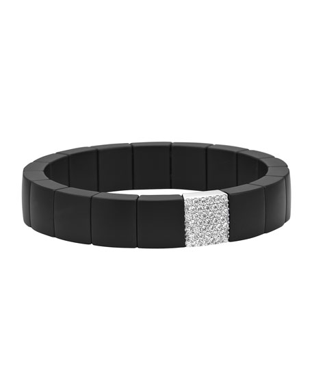 Roberto Demeglio Matte Black Ceramic & 18k White Gold Stretch Bracelet w/ Diamonds