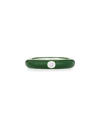 Green Enamel Ring with One Diamond, Size 7.5
