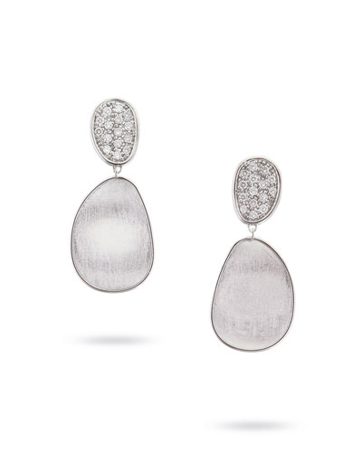 Lunaria Double-Drop Diamond Earrings in 18K White Gold