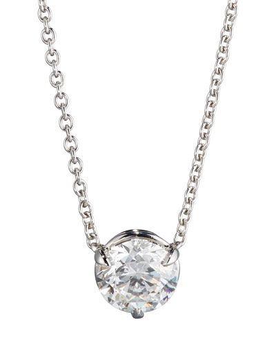 18K White Gold Round Diamond Pendant Necklace, 1.01ct