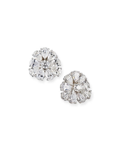 Pear-Shaped Diamond Cluster Earrings