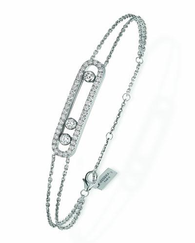 Move Pavé Diamond Station Chain Bracelet in 18K White Gold