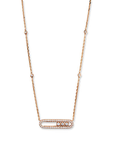 Baby Move Pavé Diamond Pendant Necklace in 18K Rose Gold