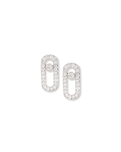 Move Uno Diamond Stud Earrings in 18K White Gold