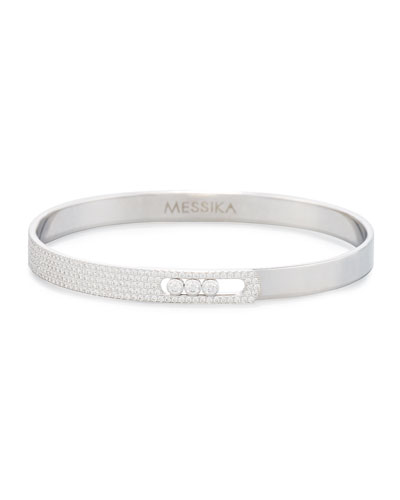Move Noa Pavé Diamond Bracelet in 18K White Gold, Size Medium