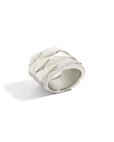 VHERNIER 18K WHITE GOLD PLISSE RING WITH DIAMONDS, SIZE 8.5
